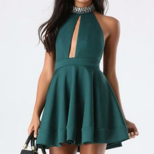 BEBE green embellished neck halter dress M